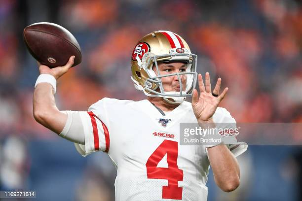 Quarterback Nick Mullens of the San Francisco 49ers warms up before coming into the game in the fourth quarter during a preseason National Football...