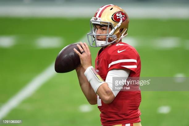 Quarterback Nick Mullens of the San Francisco 49ers warms up prior to the game against the Washington Football Team at State Farm Stadium on December...