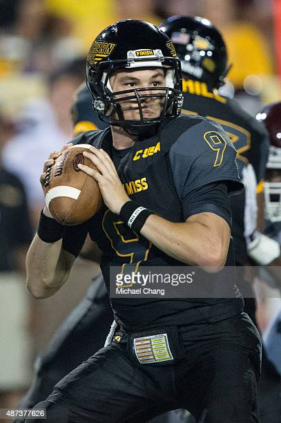 Quarterback Nick Mullens of the Southern Miss Golden Eagles looks to throw a pass during their game against the Mississippi State Bulldogs on...