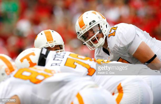 Quarterback Nick Stephens of the Tennessee Volunteers yells to his offense against the Georgia Bulldogs during the game at Sanford Stadium on October...