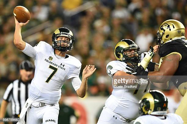 Quarterback Nick Stevens of the Colorado State Rams passes against the Colorado Buffaloes during the second half of a game at Sports Authority Field...