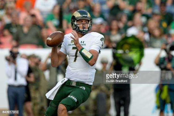 Quarterback Nick Stevens of the Colorado State Rams passes against the Colorado Buffaloes in the first half of a game at Sports Authority Field at...