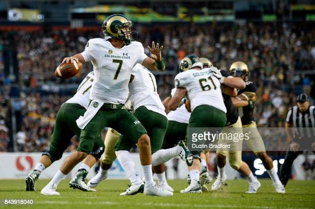 Quarterback Nick Stevens of the Colorado State Rams passes against the Colorado State Rams in the first half of a game at Sports Authority Field at...