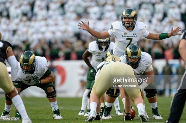 Quarterback Nick Stevens of the Colorado State Rams runs the offense against the Colorado Buffaloes at Sports Authority Field at Mile High on...