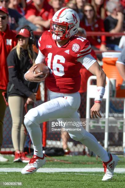 Quarterback Noah Vedral of the Nebraska Cornhuskers runs against the Bethune Cookman Wildcats at Memorial Stadium on October 27 2018 in Lincoln...