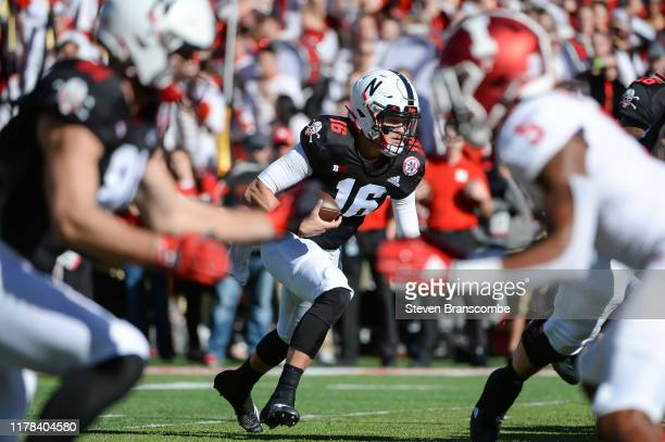Quarterback Noah Vedral of the Nebraska Cornhuskers scores on a run against Indiana Hoosiers at Memorial Stadium on October 26 2019 in Lincoln...