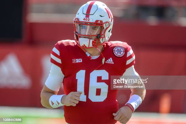 Quarterback Noah Vedral of the Nebraska Cornhuskers warms up before the game against the Minnesota Golden Gophers at Memorial Stadium on October 20...
