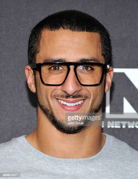 Quarterback of the San Francisco 49ers Colin Kaepernick poses in the press room during Cartoon Network's fourth annual Hall of Game Awards at Barker...
