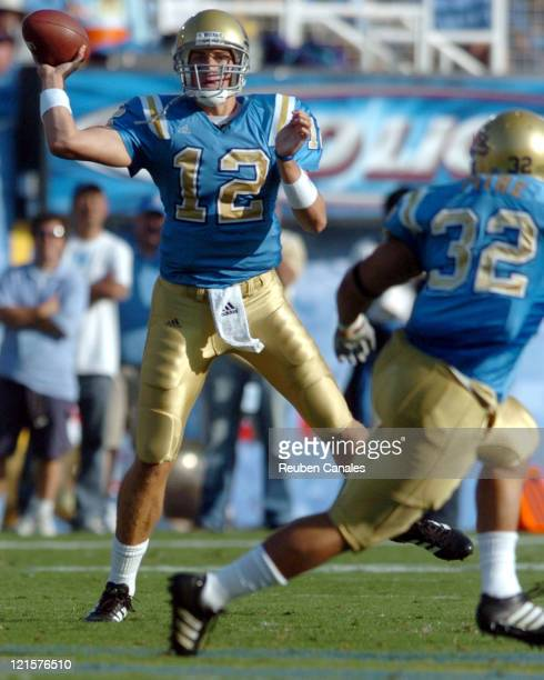 Quarterback Pat Cowan of the UCLA Bruins throws upfield in a 27 to 7 win over the University of Arizona Wildcats on October 7 2006 at the Rose Bowl...