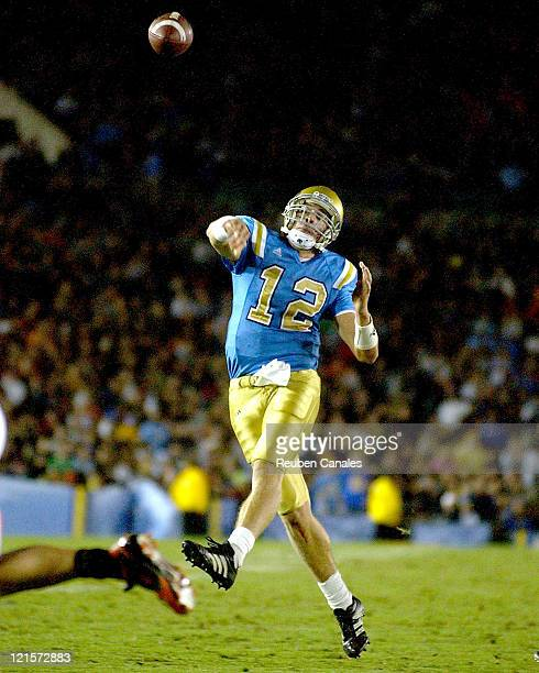 Quarterback Patrick Cowan of the UCLA Bruins throws upfield in a 25 to 7 victory over the Oregon State Beavers on November 11 2006 at the Rose Bowl...
