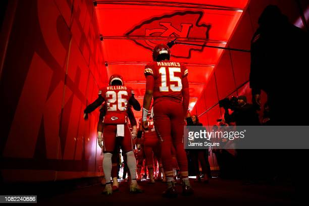 Quarterback Patrick Mahomes and running back Damien Williams the Kansas City Chiefs prepare to run onto the field during player introductions prior...