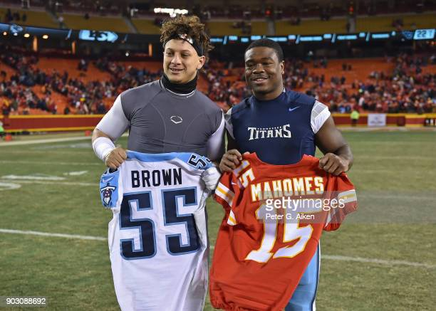 Quarterback Patrick Mahomes of the Kansas City Chiefs and linebacker Jayon Brown of the Tennessee Titans exchange jerseys after the game at Arrowhead...