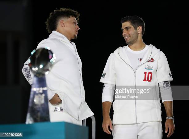 Quarterback Patrick Mahomes of the Kansas City Chiefs and quarterback Jimmy Garoppolo of the San Francisco 49ers take part in Super Bowl Opening...
