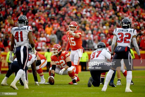 Quarterback Patrick Mahomes of the Kansas City Chiefs calls a play on the line of scrimmage during the AFC Divisional playoff game against the...