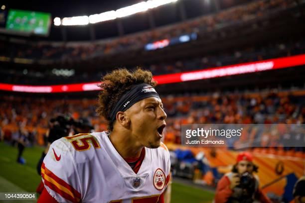 Quarterback Patrick Mahomes of the Kansas City Chiefs celebrates a 2723 win over the Denver Broncos at Broncos Stadium at Mile High on October 1 2018...