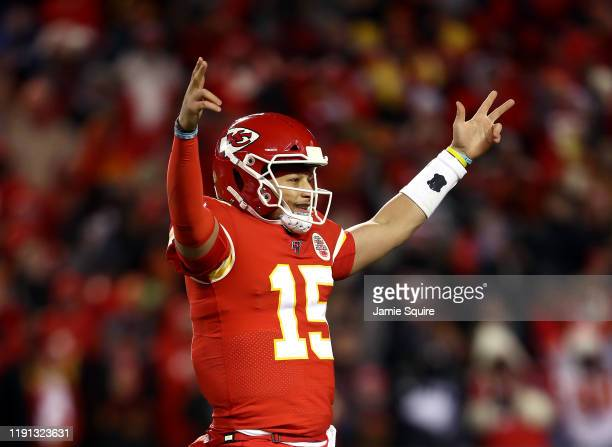 Quarterback Patrick Mahomes of the Kansas City Chiefs celebrates after a touchdown during the 4th quarter of the game against the Oakland Raiders at...