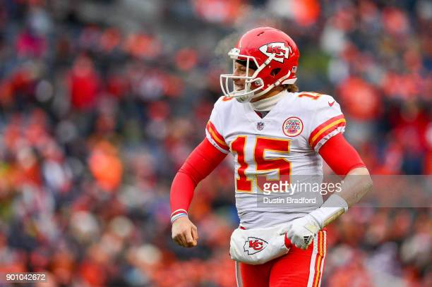 Quarterback Patrick Mahomes of the Kansas City Chiefs celebrates after a second quarter touchdown against the Denver Broncos at Sports Authority...