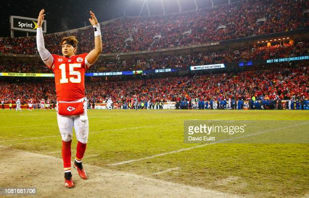 Quarterback Patrick Mahomes of the Kansas City Chiefs celebrates in the final minute of the 3113 victory over the Indianapolis Colts in the AFC...