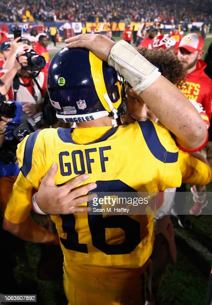 Quarterback Patrick Mahomes of the Kansas City Chiefs congratulates quarterback Jared Goff of the Los Angeles Rams after the Rams won the game with...