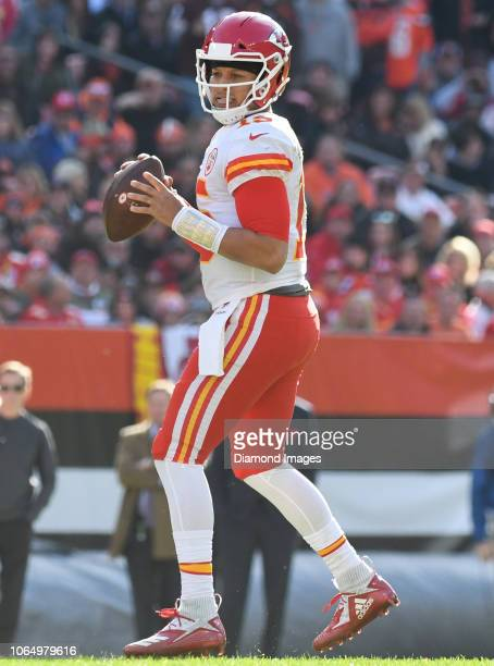 Quarterback Patrick Mahomes of the Kansas City Chiefs drops back to pass in the second quarter of a game against the Cleveland Browns on November 4...