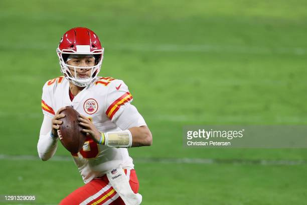 Quarterback Patrick Mahomes of the Kansas City Chiefs drops back to pass during the NFL game against the Las Vegas Raiders at Allegiant Stadium on...