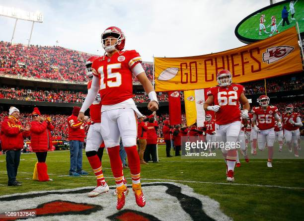 Quarterback Patrick Mahomes of the Kansas City Chiefs during player introductions prior to the game against the Oakland Raiders at Arrowhead Stadium...