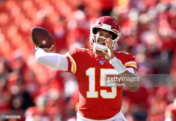 Quarterback Patrick Mahomes of the Kansas City Chiefs during warm-ups prior to the game against the Houston Texans at Arrowhead Stadium on October...
