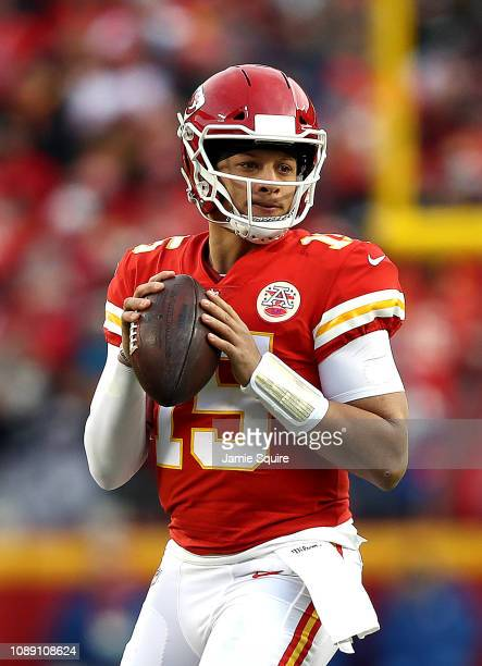 Quarterback Patrick Mahomes of the Kansas City Chiefs in action during the game against the Oakland Raiders at Arrowhead Stadium on December 30 2018...