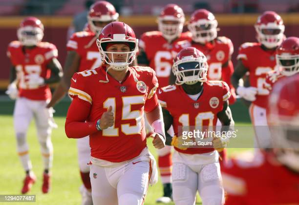 Quarterback Patrick Mahomes of the Kansas City Chiefs leads players onto the field prior to the game against the Atlanta Falcons at Arrowhead Stadium...