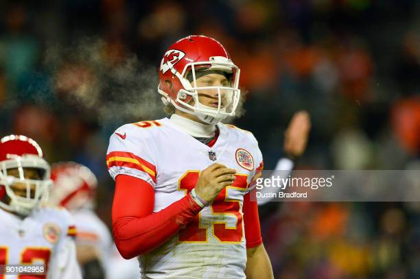Quarterback Patrick Mahomes of the Kansas City Chiefs looks on during a game against the Denver Broncos at Sports Authority Field at Mile High on...