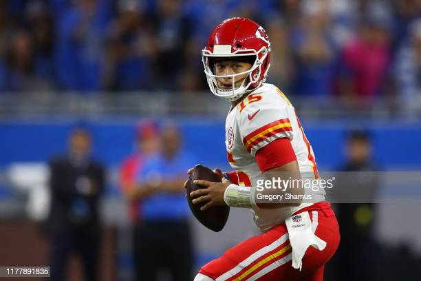 Quarterback Patrick Mahomes of the Kansas City Chiefs looks to pass against the Detroit Lions in the first quarter of the game at Ford Field on...