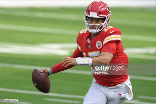Quarterback Patrick Mahomes of the Kansas City Chiefs looks to pass against the Los Angeles Chargers during the second quarter at SoFi Stadium on...