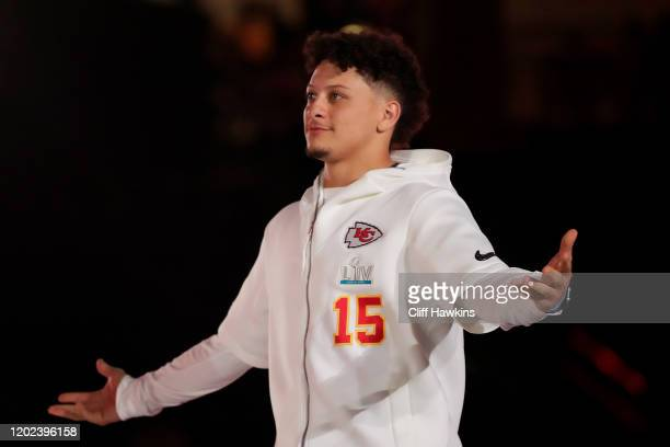 Quarterback Patrick Mahomes of the Kansas City Chiefs makes his entrance to Super Bowl Opening Night presented by BOLT24 at Marlins Park on January...
