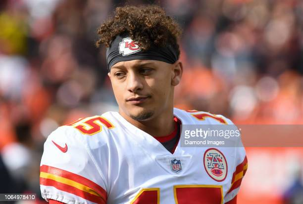 Quarterback Patrick Mahomes of the Kansas City Chiefs on the sideline prior to a game against the Cleveland Browns on November 4 2018 at FirstEnergy...