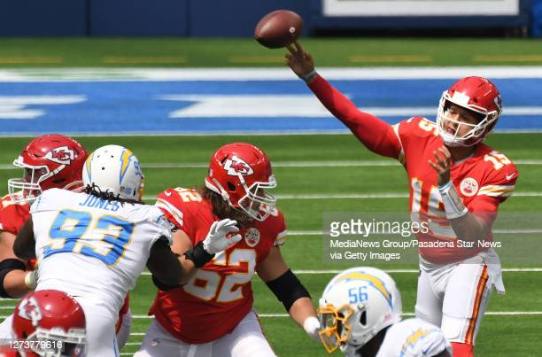 quarterback Patrick Mahomes of the Kansas City Chiefs passes against the Los Angeles Chargers in the first half of a NFL football game at SoFi...
