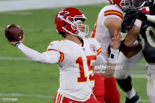 Quarterback Patrick Mahomes of the Kansas City Chiefs passes against the Baltimore Ravens at M&T Bank Stadium on September 28, 2020 in Baltimore,...