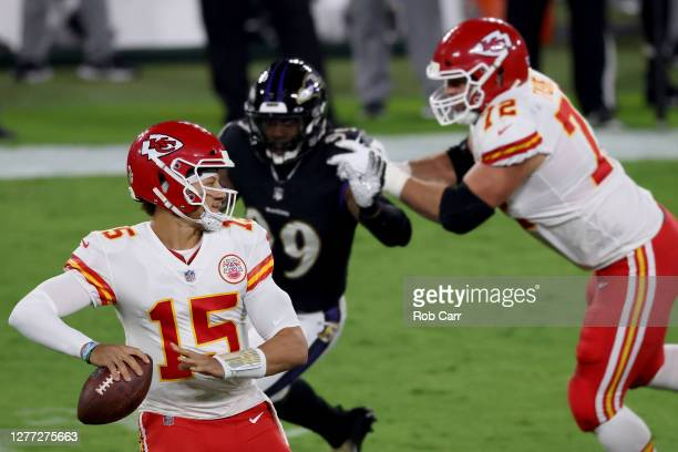 Quarterback Patrick Mahomes of the Kansas City Chiefs passes against the Baltimore Ravens at MT Bank Stadium on September 28 2020 in Baltimore...