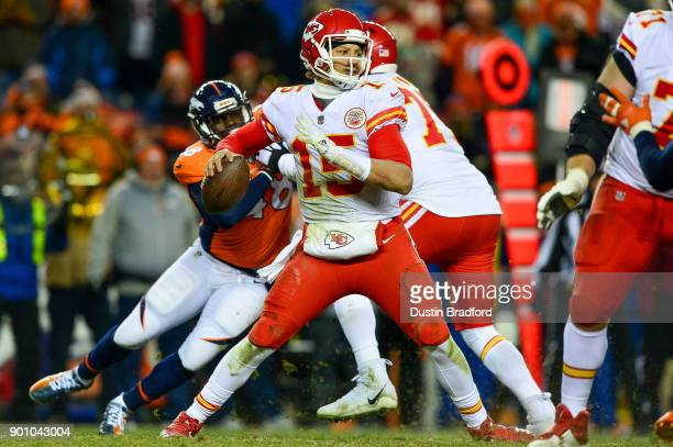 Quarterback Patrick Mahomes of the Kansas City Chiefs passes against the Denver Broncos at Sports Authority Field at Mile High on December 31 2017 in...