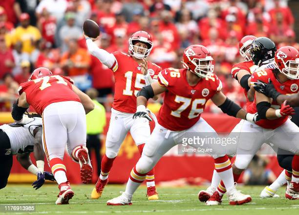 Quarterback Patrick Mahomes of the Kansas City Chiefs passes during the game against the Baltimore Ravens at Arrowhead Stadium on September 22, 2019...