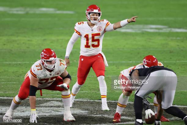 Quarterback Patrick Mahomes of the Kansas City Chiefs prepares to snap the football during the NFL game against the Las Vegas Raiders at Allegiant...