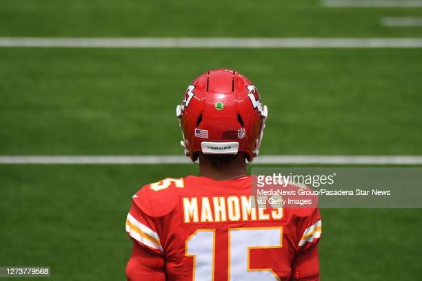 Quarterback Patrick Mahomes of the Kansas City Chiefs prior to a NFL football game against the Los Angeles Chargers at SoFi Stadium in Inglewood on...