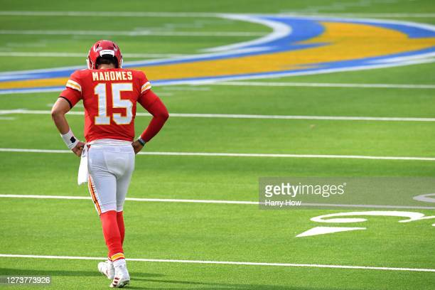 Quarterback Patrick Mahomes of the Kansas City Chiefs reacts after a penalty against the Los Angeles Chargers during the fourth quarter at SoFi...