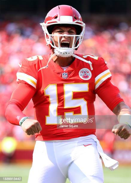 Quarterback Patrick Mahomes of the Kansas City Chiefs reacts during the game against the Cleveland Browns at Arrowhead Stadium on September 12, 2021...