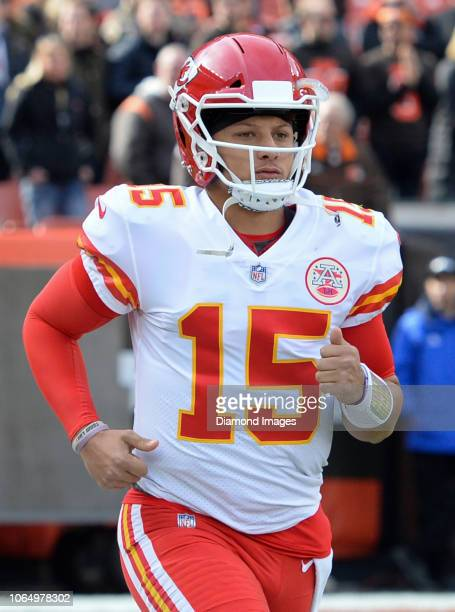 Quarterback Patrick Mahomes of the Kansas City Chiefs runs onto the field prior to a game against the Cleveland Browns on November 4 2018 at...
