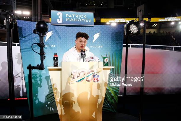 Quarterback Patrick Mahomes of the Kansas City Chiefs speaks to the media during Super Bowl Opening Night presented by BOLT24 at Marlins Park on...