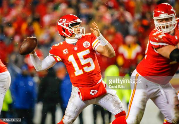 Quarterback Patrick Mahomes of the Kansas City Chiefs throws a fourth quarter pass against the Indianapolis Colts in the AFC Divisional Playoff at...