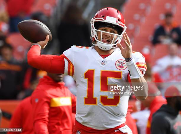 Quarterback Patrick Mahomes of the Kansas City Chiefs throws a pass prior to a game against the Cleveland Browns on November 4 2018 at FirstEnergy...