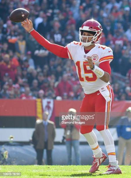 Quarterback Patrick Mahomes of the Kansas City Chiefs throws a pass in the second quarter of a game against the Cleveland Browns on November 4 2018...
