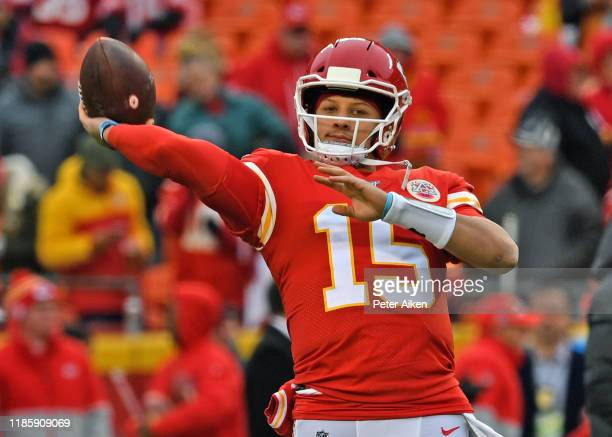 Quarterback Patrick Mahomes of the Kansas City Chiefs throws a pass during pre-game workouts, prior to a game against the Oakland Raiders at...