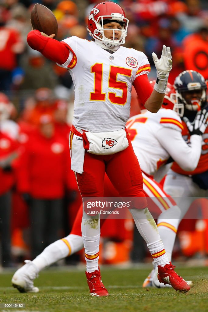 Quarterback Patrick Mahomes #15 of the Kansas City Chiefs throws a pass during the first quarter against the Denver Broncos at Sports Authority Field at Mile High on December 31, 2017 in Denver, Colorado.